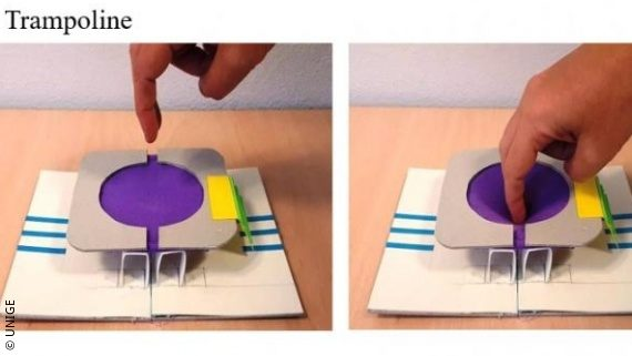 Image: a trampoline build of paper which a person can feel; Copyright: UNIGE