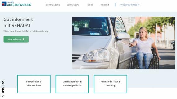 Foto: Startseite des REHADAT-Infoportals zum Thema Autofahren mit Behinderung; Copyright: REHADAT