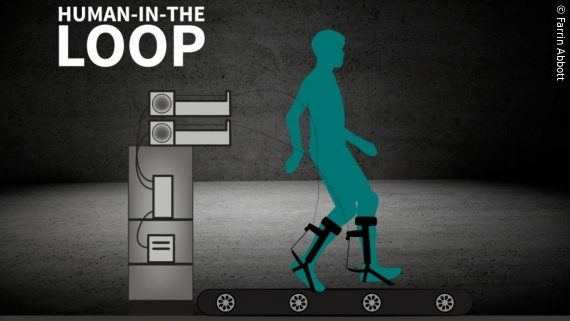 Photo: A graphic of a man walking on a treadmill with ankle exoskeleton; Copyright: Farrin Abbott