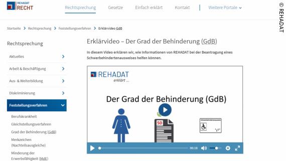 Foto: Screenshot der REHADAT-Seite mit dem Erklärvideo; Copyright: REHADAT