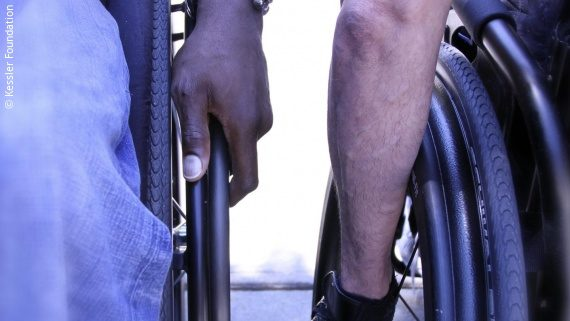 Photo: two wheelchair users; Copyright: Kessler Foundation