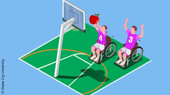 Image: two para-athletes in wheelchairs playing Basketball with an apple; Copyright: Osaka City University