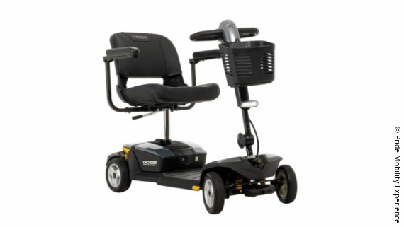 Photo: a black scooter; Copyright: Pride Mobility Experience