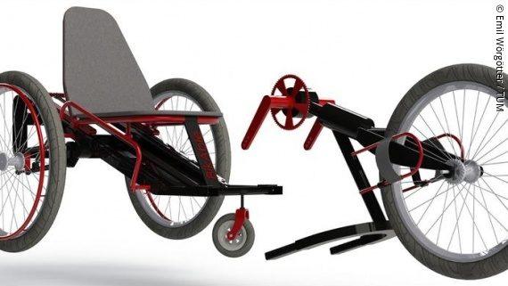 Foto: Modell eines roten Handbikes; Copyright: Emil Wörgötter/TUM