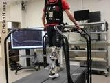 Photo: An amputee walking on a treadmill