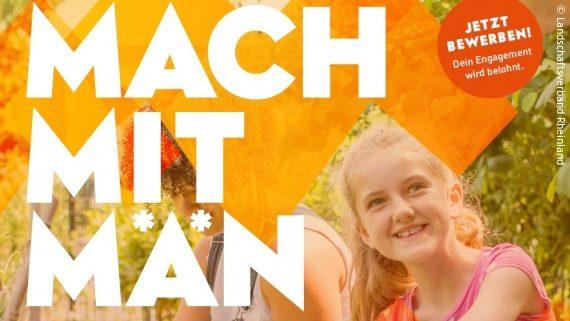 Foto: Plakalt mit dem Foto eines Mädchens und Text; Text: Mach mit Män; Copyright: Landschaftsverband Rheinland