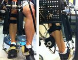Photo: Front and side view of a volunteer wearing the Anklebot