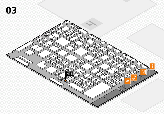 REHACARE 2016 hall map (Hall 3): stand H35