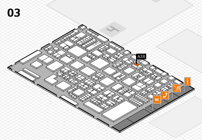 REHACARE 2016 hall map (Hall 3): stand A38
