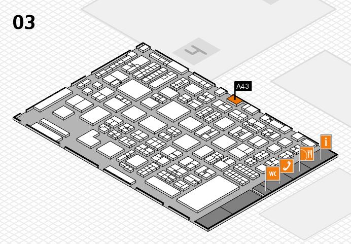 REHACARE 2016 Hallenplan (Halle 3): Stand A43
