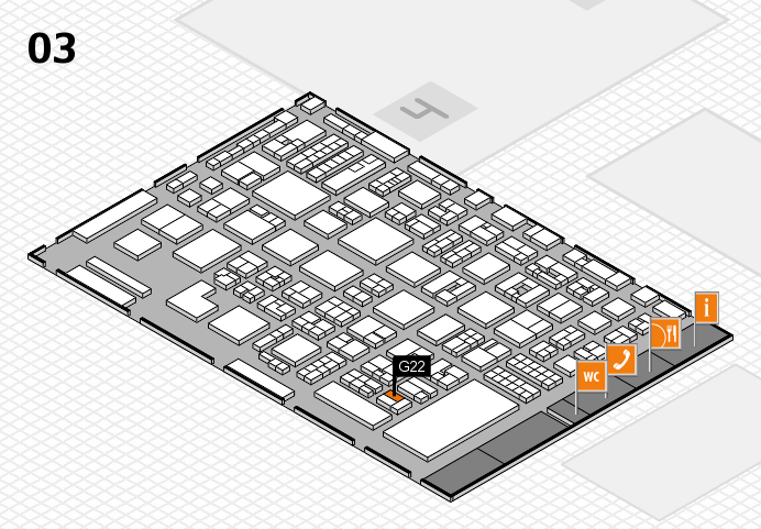 REHACARE 2016 hall map (Hall 3): stand G22