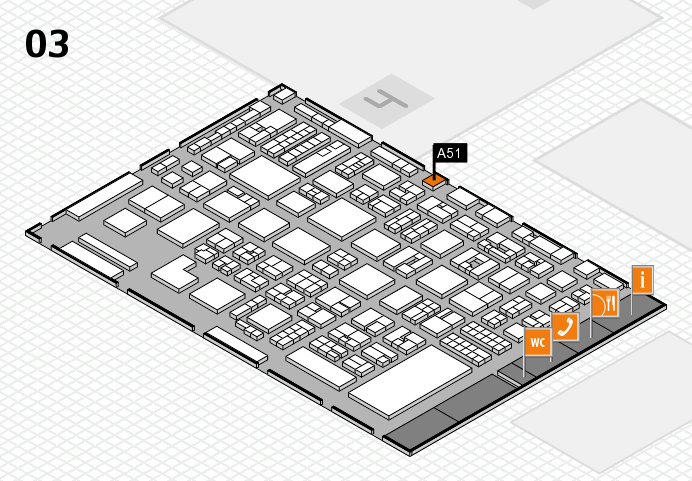 REHACARE 2016 hall map (Hall 3): stand A51