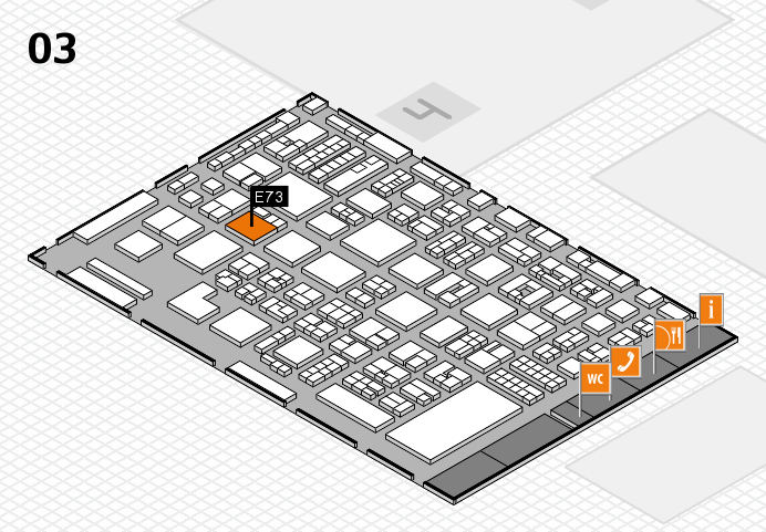 REHACARE 2016 hall map (Hall 3): stand E73