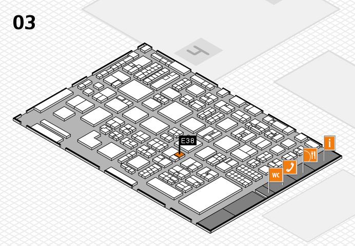 REHACARE 2016 hall map (Hall 3): stand E38
