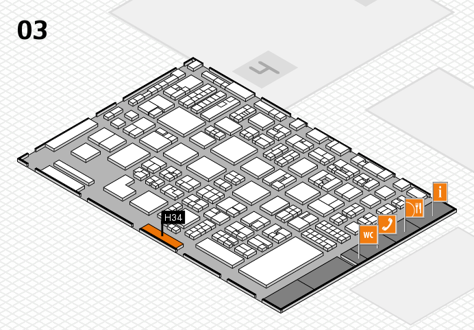 REHACARE 2016 hall map (Hall 3): stand H34