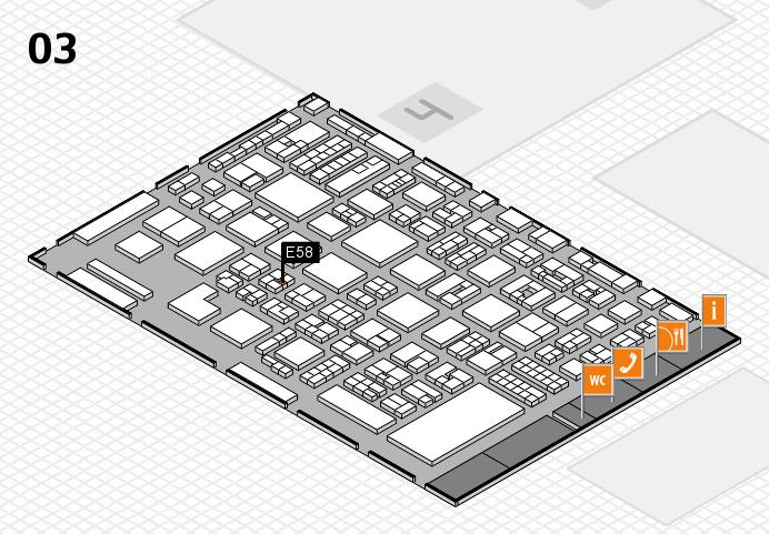 REHACARE 2016 hall map (Hall 3): stand E58