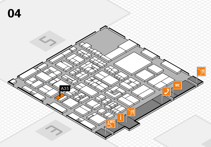 REHACARE 2016 hall map (Hall 4): stand A35