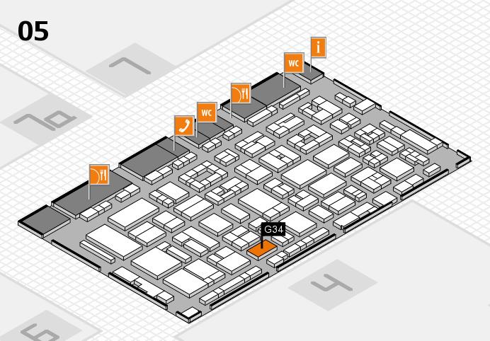 REHACARE 2016 hall map (Hall 5): stand G34