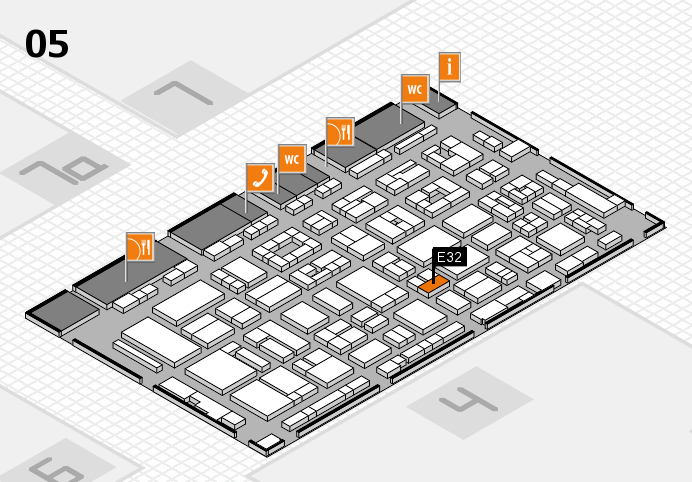 REHACARE 2016 hall map (Hall 5): stand E32