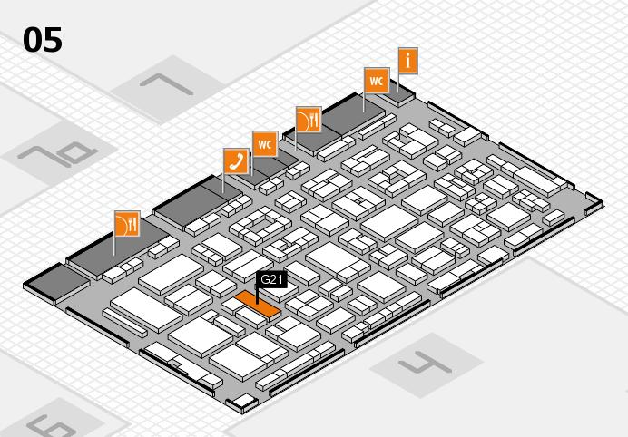 REHACARE 2016 Hallenplan (Halle 5): Stand G21