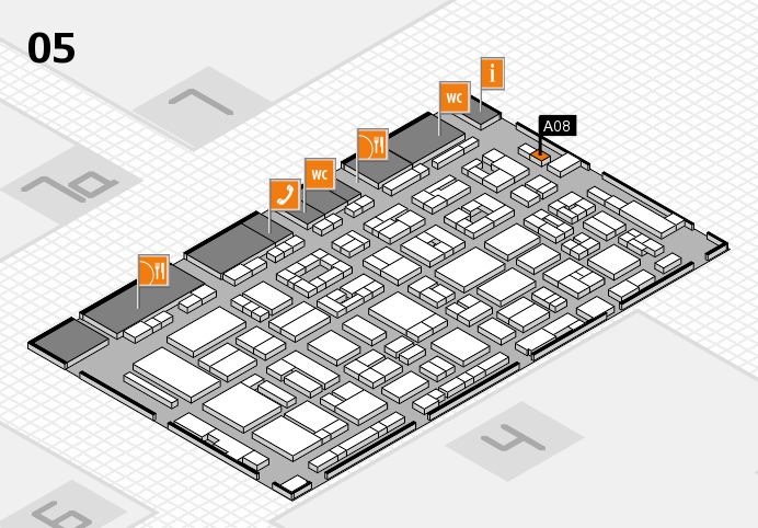 REHACARE 2016 hall map (Hall 5): stand A08