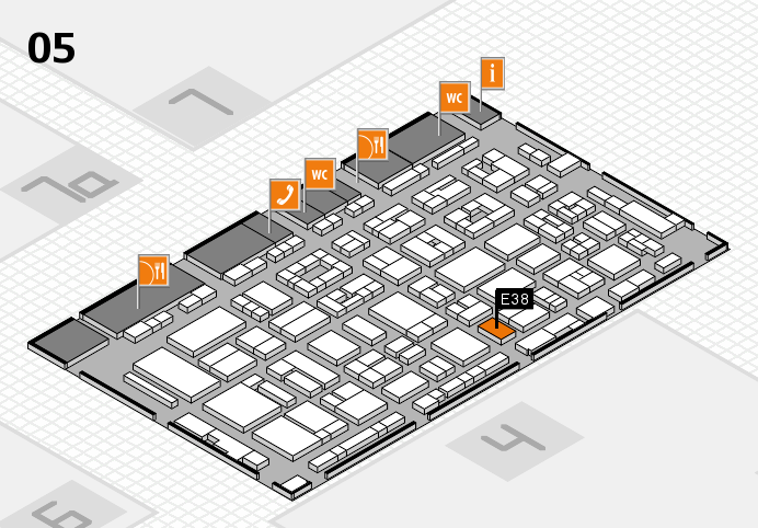REHACARE 2016 Hallenplan (Halle 5): Stand E38