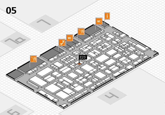 REHACARE 2016 hall map (Hall 5): stand E23