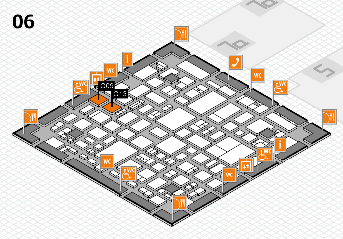 REHACARE 2016 hall map (Hall 6): stand C09, stand C13