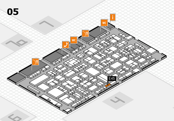 REHACARE 2017 hall map (Hall 5): stand E45